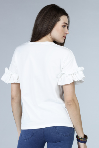 Embroidered Ruffle Sleeves Knit Top