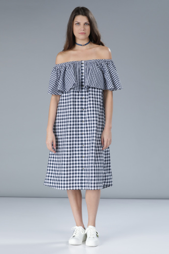 Chequered Off Shoulder Midi Dress with Ruffle Detail