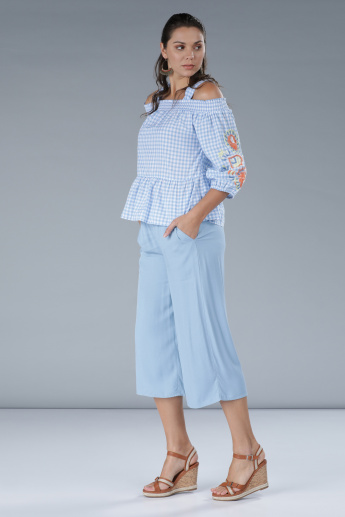 Chequered Cold Shoulder Top with Embroidered Sleeves