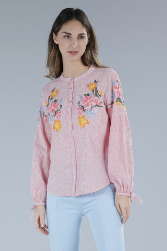 Embroidered Mandarin Collar Shirt with Complete Placket