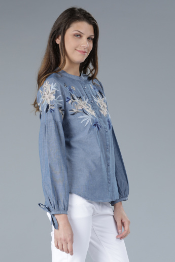 Embroidered Mandarin Collar Shirt with Long Sleeves