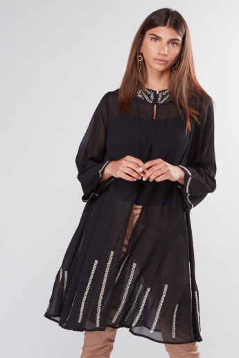 Embroidered Long Sleeves Longline Jacket