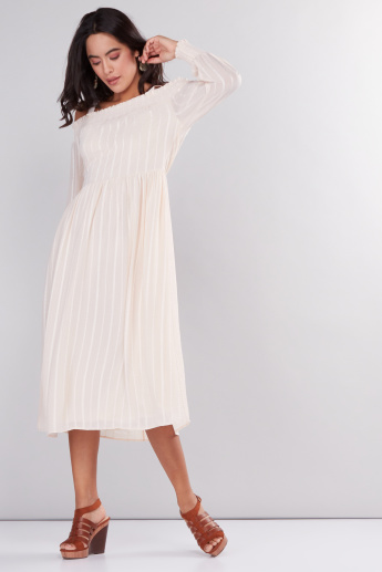 Striped Off Shoulder Midi Dress with Long Sleeves