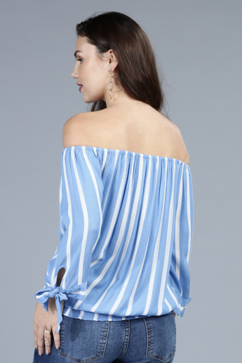 f9af09dee35c9 Striped Off Shoulder Top with Tie Up Detail