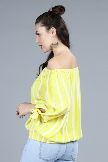 238f3fe827c611 Striped Off Shoulder Top with Tie Up Detail