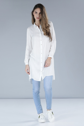 Textured Longline Shirt with Long Sleeves