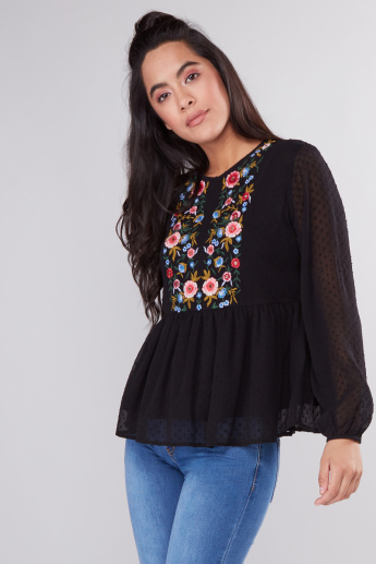 Embroidered Peplum Top with Round Neck and Long Sleeves