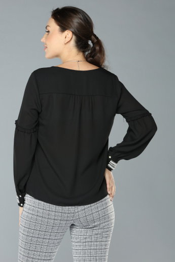 V-Neck Top with Long Sleeves and Embellished Cuffs