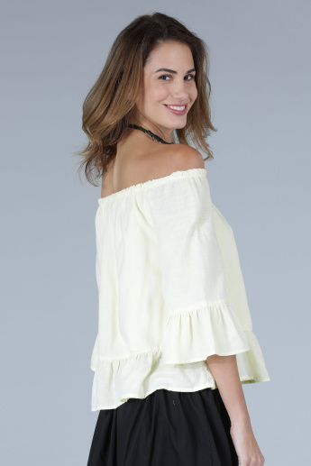 Off Shoulder Top with Frill Detail