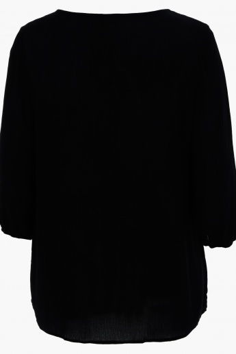 Plus Size Embroidered 3/4 Sleeves Top