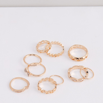 Assorted Metallic Finger Ring - Set of 10