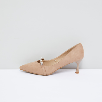 Embellished Slip-On Pumps with Pointed Toe Cap