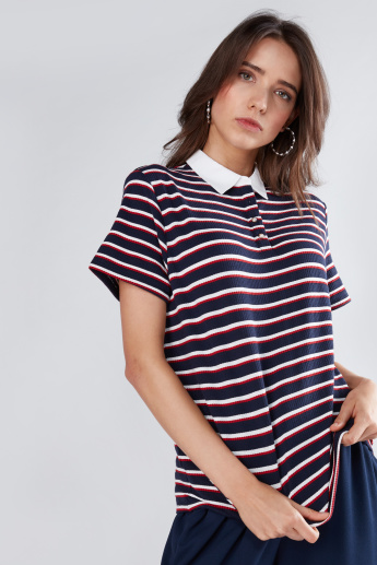Striped T-Shirt with Polo Neck and Pearl Detail Button Closure