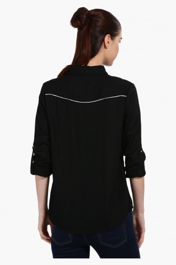 Long Sleeves Shirt with Embroidered Yoke