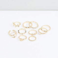 Metallic Finger Ring - Set of 11
