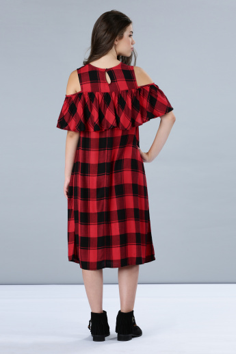 Chequered Cold Shoulder Midi Dress with Frill
