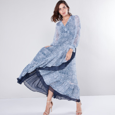 Printed Wrap Maxi Dress with Flounce Sleeves and Asymmetric Hem