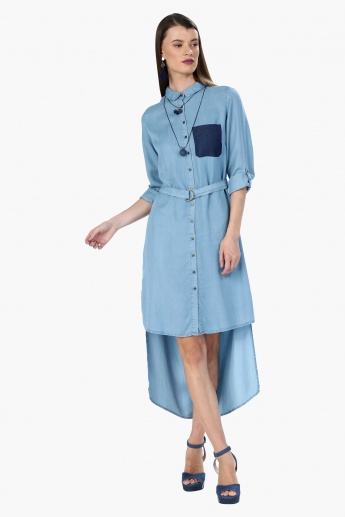 Denim Midi Dress with High Low Hem and Placket
