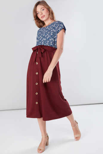 Button Detail Midi Skirt with Paper Bag Waist
