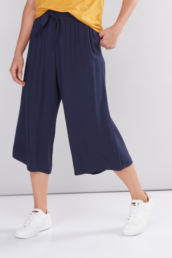Pleated Culottes with Elasticised Waistband with Drawstring