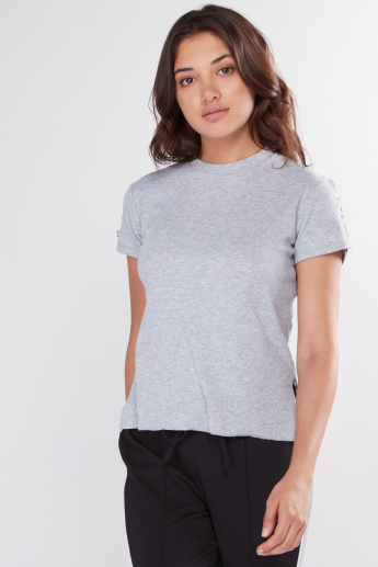 Pearl Detail Top with Round Neck and Short Sleeves