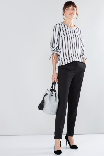 Striped Top with Round Neck and Tie Ups
