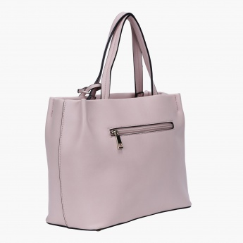 Textured Handbag with Zip Closure