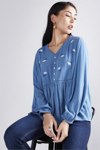 Embroidered Top with V-Neck and Long Sleeves