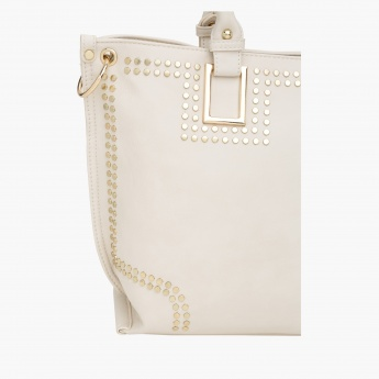 Studded Handbag with Zip Closure