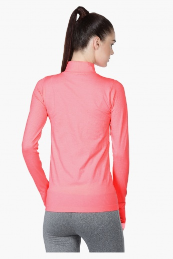 Seamless Jacket with Long Sleeves and High Neck