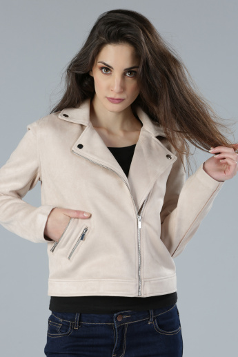 Notch Collar Jacket with Zip Closure and Long Sleeves