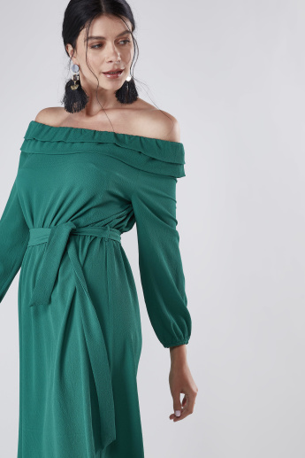 Off Shoulder Solid Maxi Dress with Ruffle Detail and Tie Up Belt