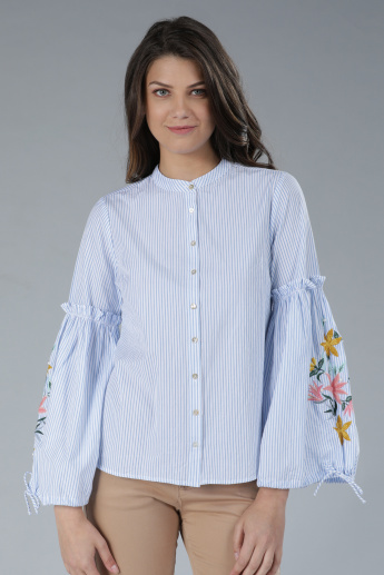 Striped Mandarin Neck Shirt with Embroidered Bell Sleeves
