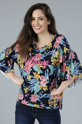 Printed Round Neck Top with Ruffle Sleeves