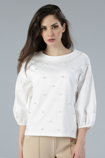 Pearl Detail Round Neck Top with 3/4 Sleeves