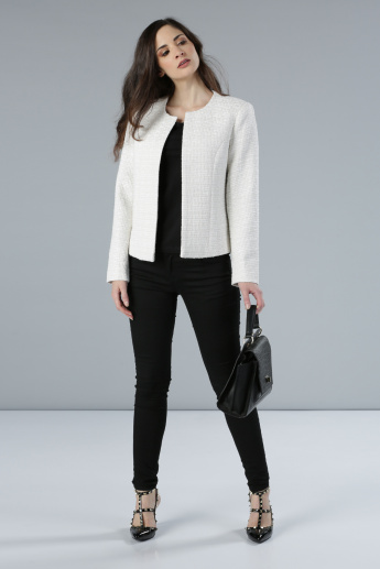 Textured Open Front Jacket with Long Sleeves