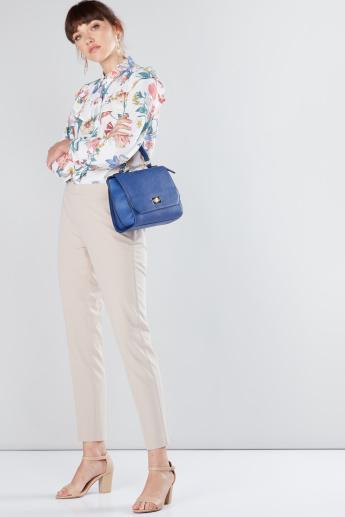 Floral Printed Shirt with Long Sleeves and Complete Placket