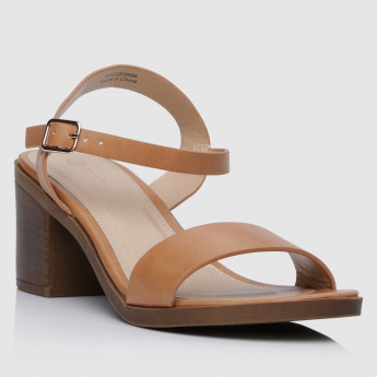 Strap Sandals with Mid Block Heel and Buckle Closure
