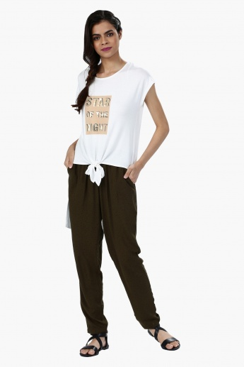 Printed Front Knot T-Shirt with Low Back Hem