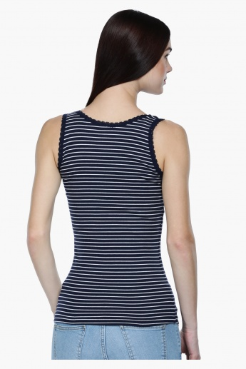 Striped Sleeveless T-Shirt with Round Neck