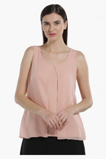 Sleeveless Layered Top with Round Neck
