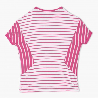 Striped T-Shirt with Short Sleeves and Text Print