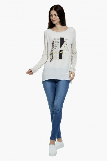 Printed Long Sleeves Top with Round Neck