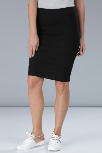 Ribbed Skirt with Elasticised Waistband