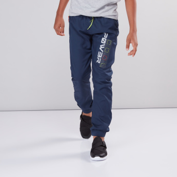 Printed Jog Pants with Elasticised Waistband and Drawstring
