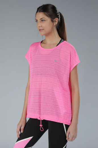 Striped T-Shirt with Elasticised Hem Band