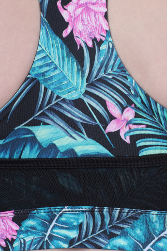 Printed Sports Bra with Mesh Detail