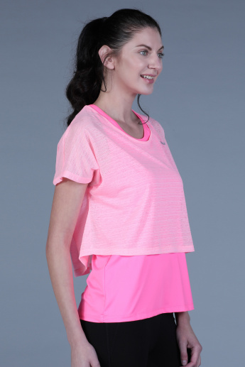Round Neck Double Layered Top with Extended Sleeves