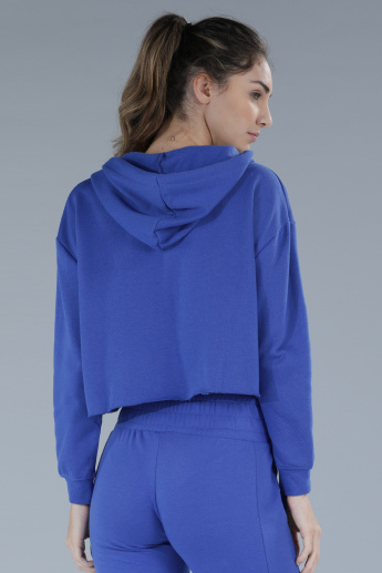 Long Sleeves Sweat Top with Hood and Tie-Up Detail