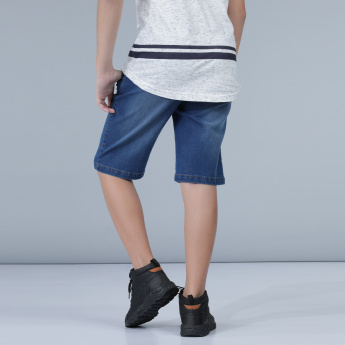 Denim Pull-On Shorts with Drawstring